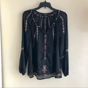 [Lucky Brand] Black Embroidered Top